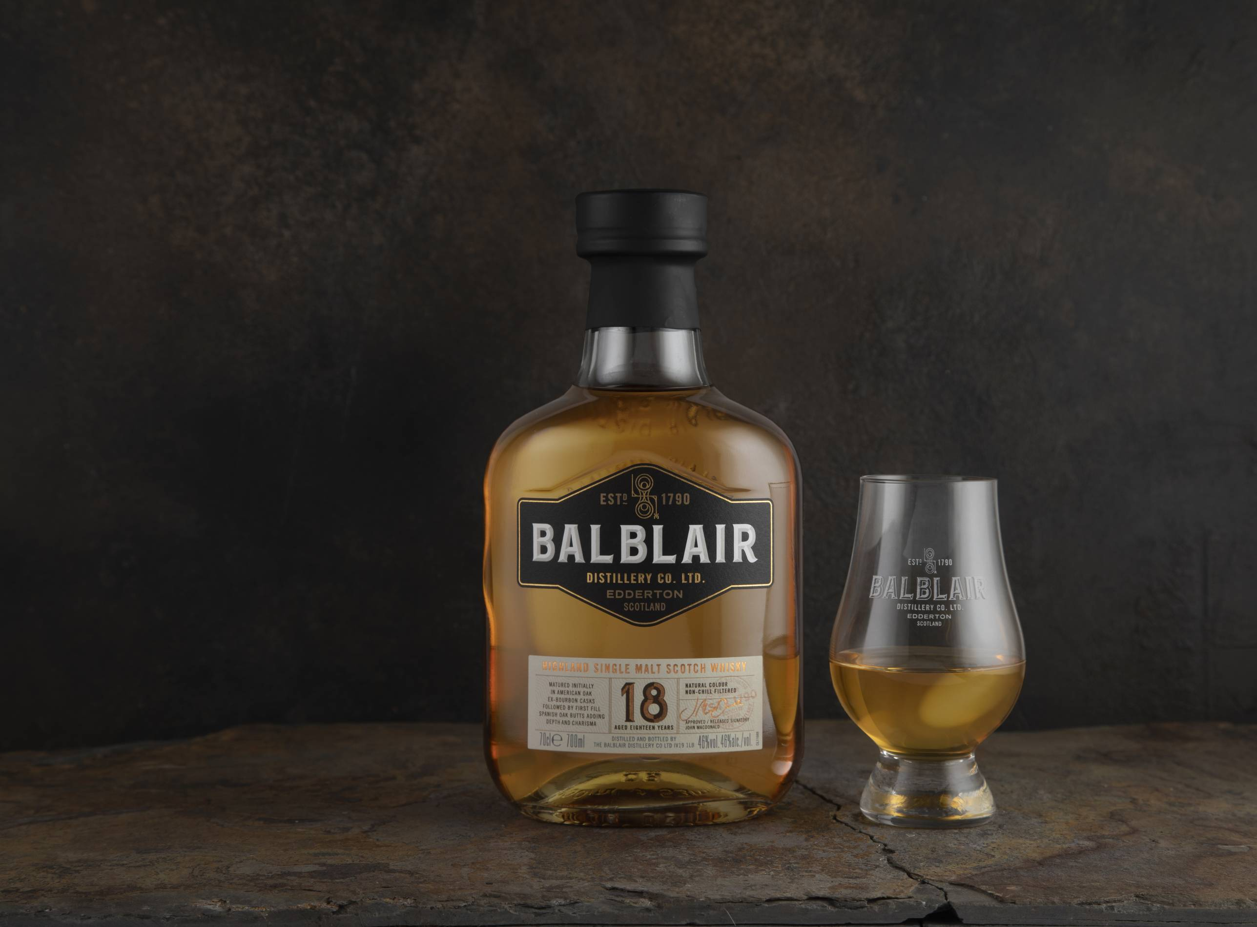 Balbair 18 year old single malt scotch bottle