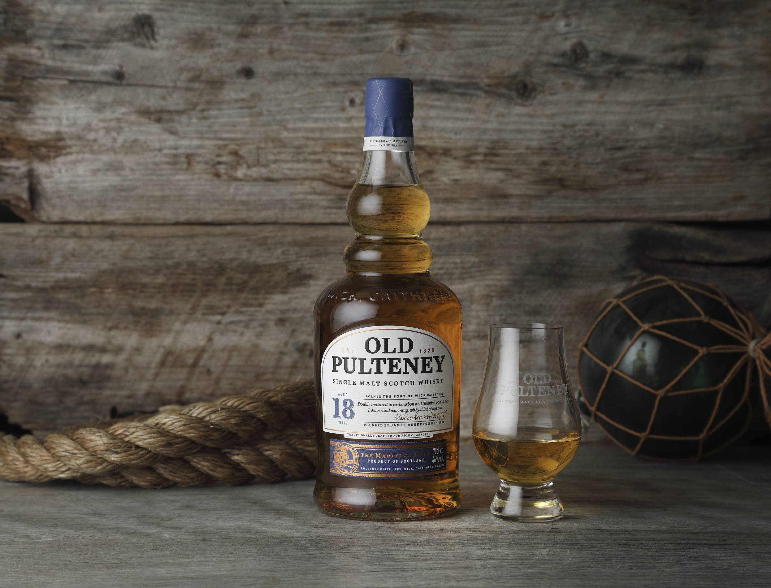 Old Pulteney 18 single malt scotch bottle