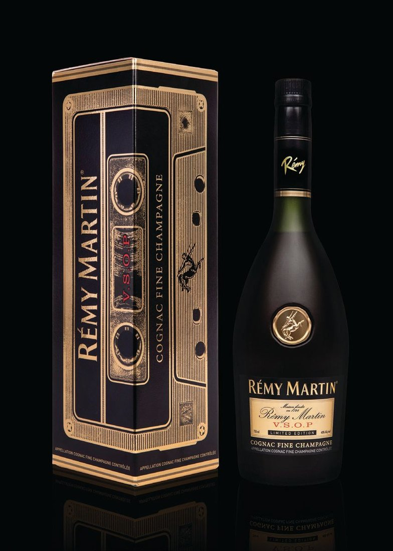 The limited VSOP bottle has been refreshed with gold detailing; its case is reminiscent of a classic cassette. PHOTO COURTESY OF RÉMY MARTIN