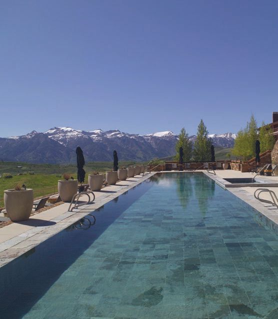 The 115-foot lap pool has the best view in the house and provides a perfect respite after a long day of exploring and adventures in Jackson Hole. PHOTO COURTESY OF AMAN