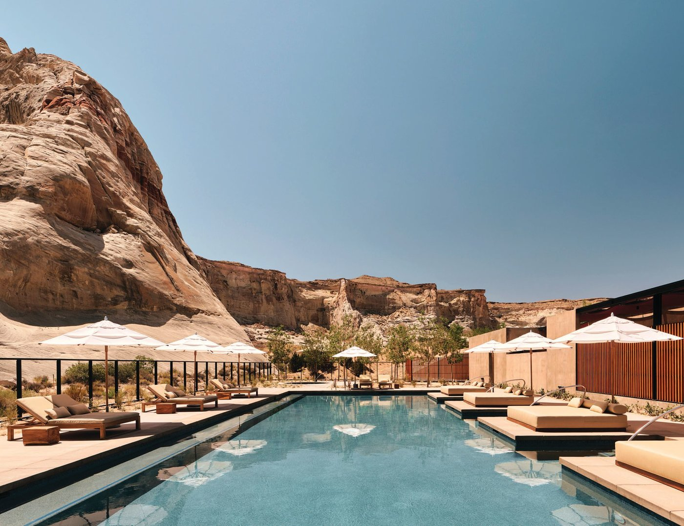 Camp Sarika's pool and Jacuzzi, tucked among mesas and seamlessly connected to the surrounding desert landscape, offer a space for respite. PHOTOS COURTESY OF AMAN