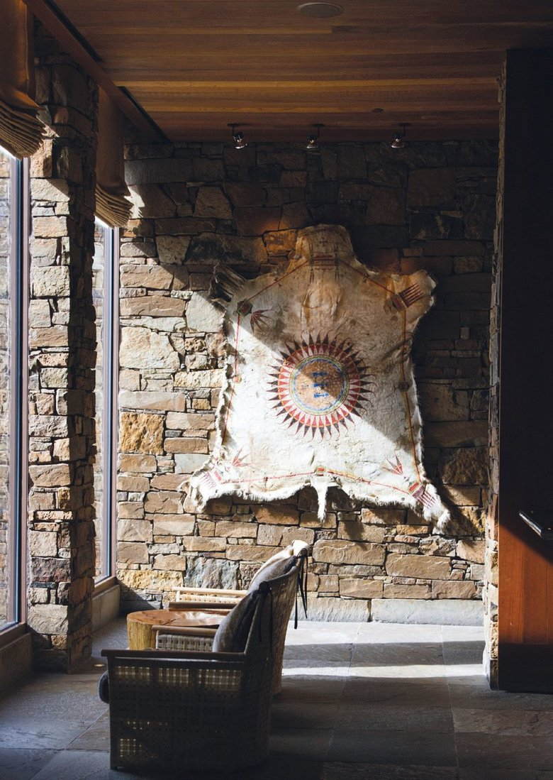 The Mountain Shoshone tribe lived seasonally in the high-elevation areas of the Greater Yellowstone Ecosystem, and art in the lobby pays tribute to its history PHOTO COURTESY OF AMAN