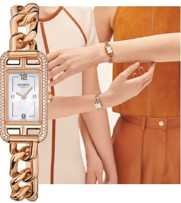 Hermès Nantucket TPM watch in diamond-set rose gold case and rose gold bracelet, and diamond-set steel case and steel bracelet, hermes.com. PHOTO COURTESY OF BRANDS