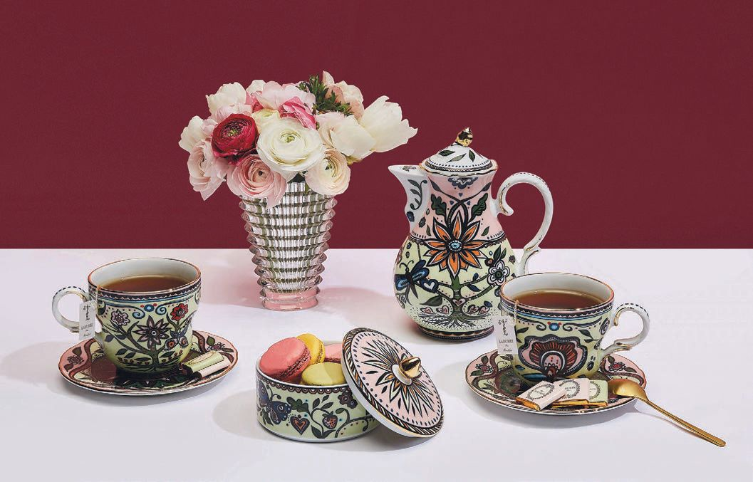 The Big Mama cup and saucer set with La DoubleJ's first teapot. PHOTO COURTESY OF BRAND