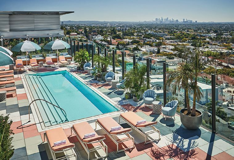 The hotel's stunning rooftop houses the pool, Merois—an Asian-inspired restaurant by Wolfgang Puck—and more  PHOTO COURTESY OF PENDRY WEST HOLLYWOOD