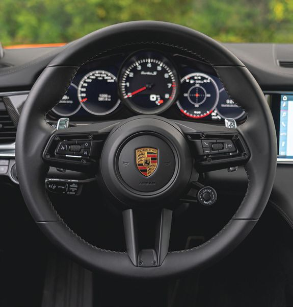 The newly designed multifunction steering wheel PHOTO COURTESY OF PORSCHE